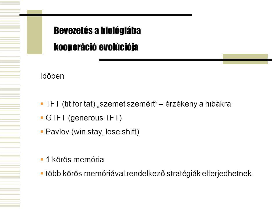 """Időben  TFT (tit for tat) """"szemet szemért – érzékeny a hibákra  GTFT (generous TFT)  Pavlov (win stay, lose shift)  1 körös memória  több körös memóriával rendelkező stratégiák elterjedhetnek Bevezetés a biológiába kooperáció evolúciója"""