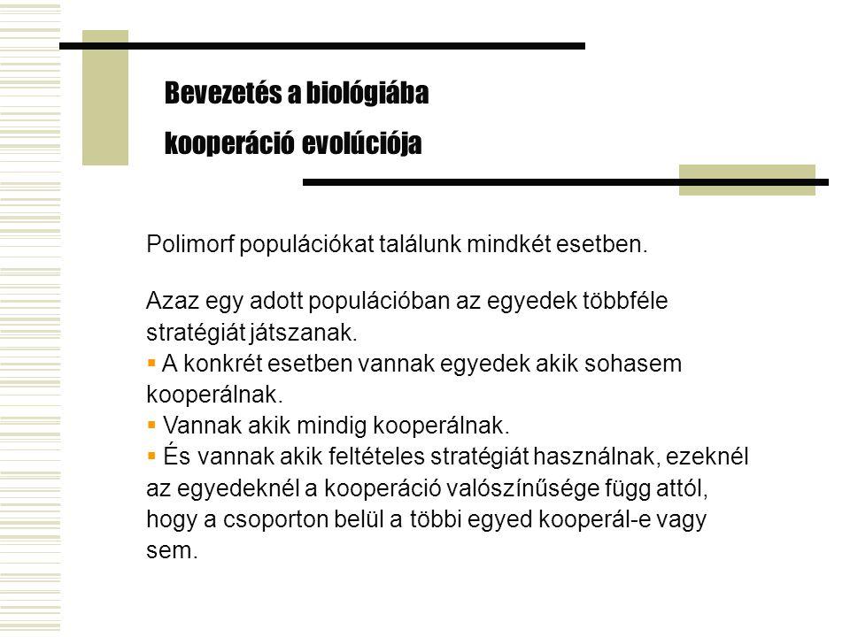 Bevezetés a biológiába kooperáció evolúciója Polimorf populációkat találunk mindkét esetben.