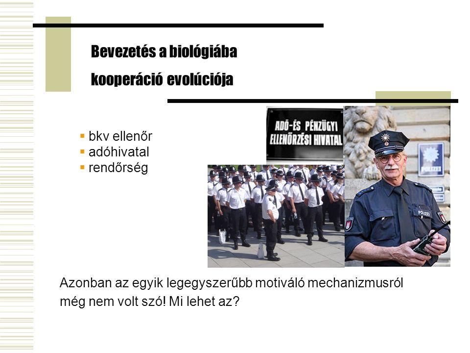  bkv ellenőr  adóhivatal  rendőrség Bevezetés a biológiába kooperáció evolúciója Azonban az egyik legegyszerűbb motiváló mechanizmusról még nem volt szó.