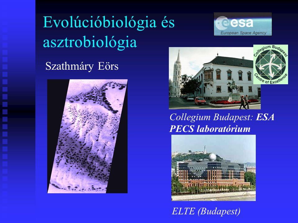 Evolúcióbiológia és asztrobiológia Szathmáry Eörs Collegium Budapest: ESA PECS laboratórium ELTE (Budapest)