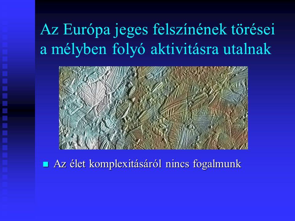 Az Európa jeges felszínének törései a mélyben folyó aktivitásra utalnak Az élet komplexitásáról nincs fogalmunk