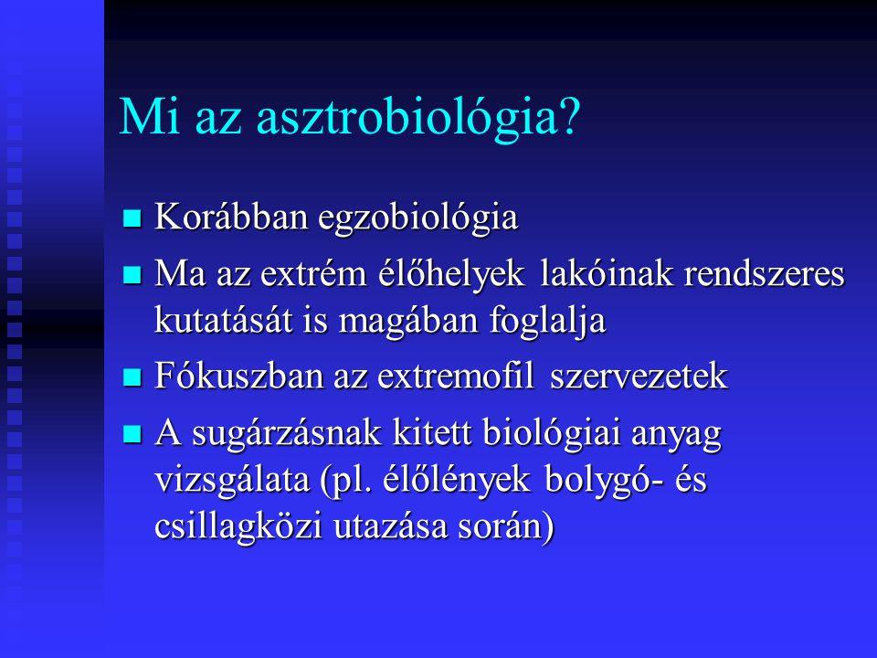 Mi az asztrobiológia? Korábban egzobiológia Korábban egzobiológia Ma az extrém élőhelyek lakóinak rendszeres kutatását is magában foglalja Ma az extré