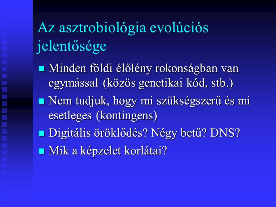 Az asztrobiológia evolúciós jelentősége Minden földi élőlény rokonságban van egymással (közös genetikai kód, stb.) Minden földi élőlény rokonságban va