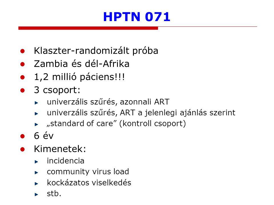 HPTN 071 Klaszter-randomizált próba Zambia és dél-Afrika 1,2 millió páciens!!.
