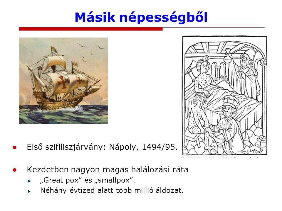 """Másik népességből Első szifiliszjárvány: Nápoly, 1494/95. Kezdetben nagyon magas halálozási ráta """"Great pox"""" és """"smallpox"""". Néhány évtized alatt több"""