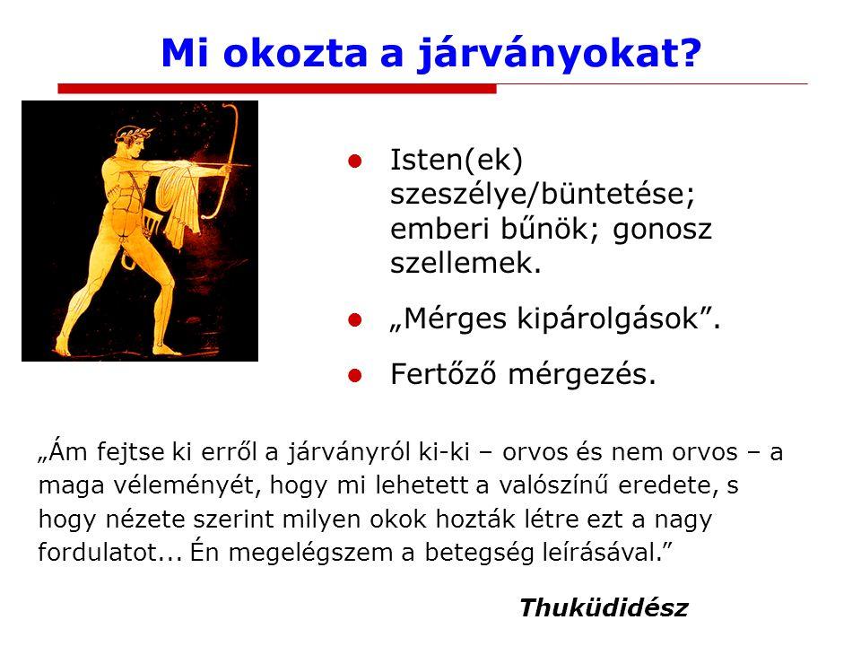 Mi okozta a járványokat.Isten(ek) szeszélye/büntetése; emberi bűnök; gonosz szellemek.