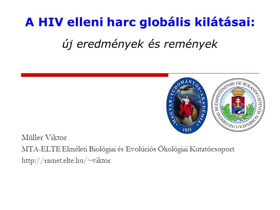 A HIV elleni harc globális kilátásai: új eredmények és remények Müller Viktor MTA-ELTE Elméleti Biológiai és Evolúciós Ökológiai Kutatócsoport http://ramet.elte.hu/~viktor