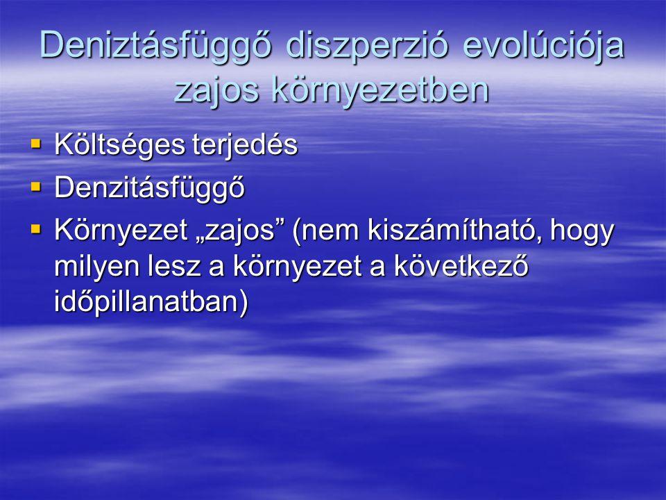 """Deniztásfüggő diszperzió evolúciója zajos környezetben  Költséges terjedés  Denzitásfüggő  Környezet """"zajos (nem kiszámítható, hogy milyen lesz a környezet a következő időpillanatban)"""