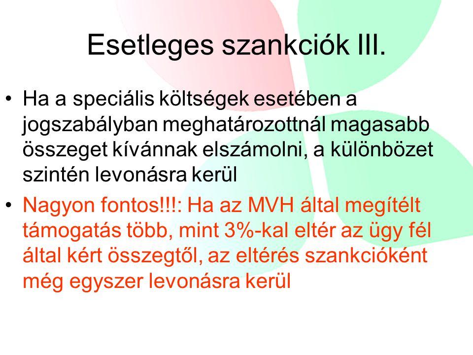 Esetleges szankciók III.