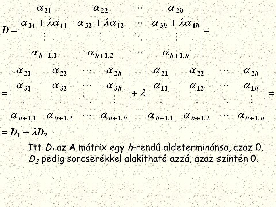 Itt D 1 az A mátrix egy h-rendű aldeterminánsa, azaz 0. D 2 pedig sorcserékkel alakítható azzá, azaz szintén 0.