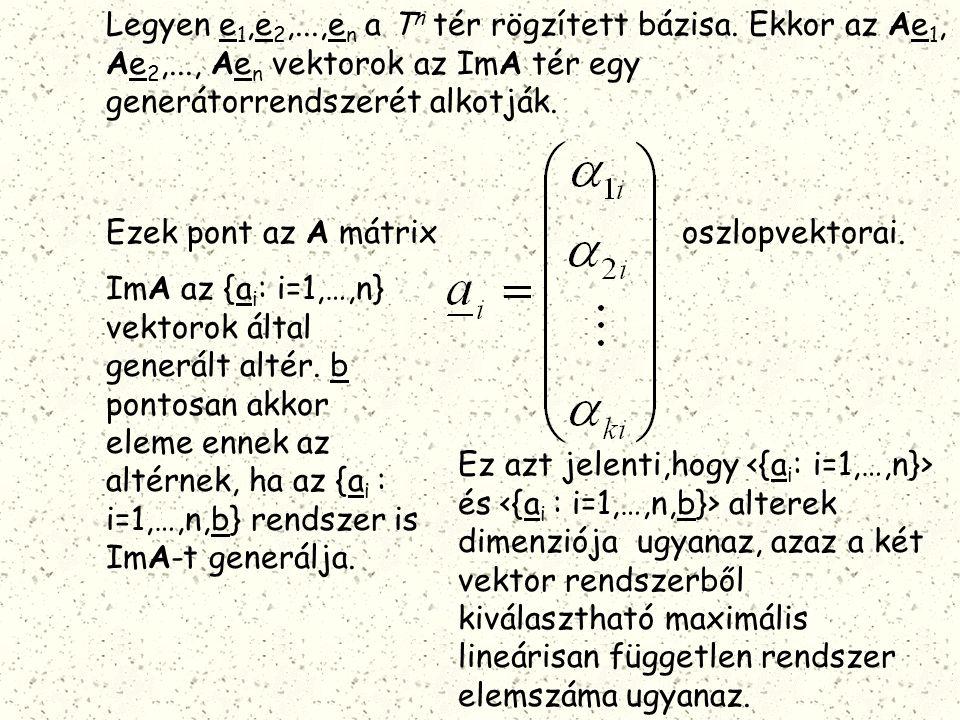 Legyen e 1,e 2,...,e n a T n tér rögzített bázisa. Ekkor az Ae 1, Ae 2,..., Ae n vektorok az ImA tér egy generátorrendszerét alkotják. Ezek pont az A