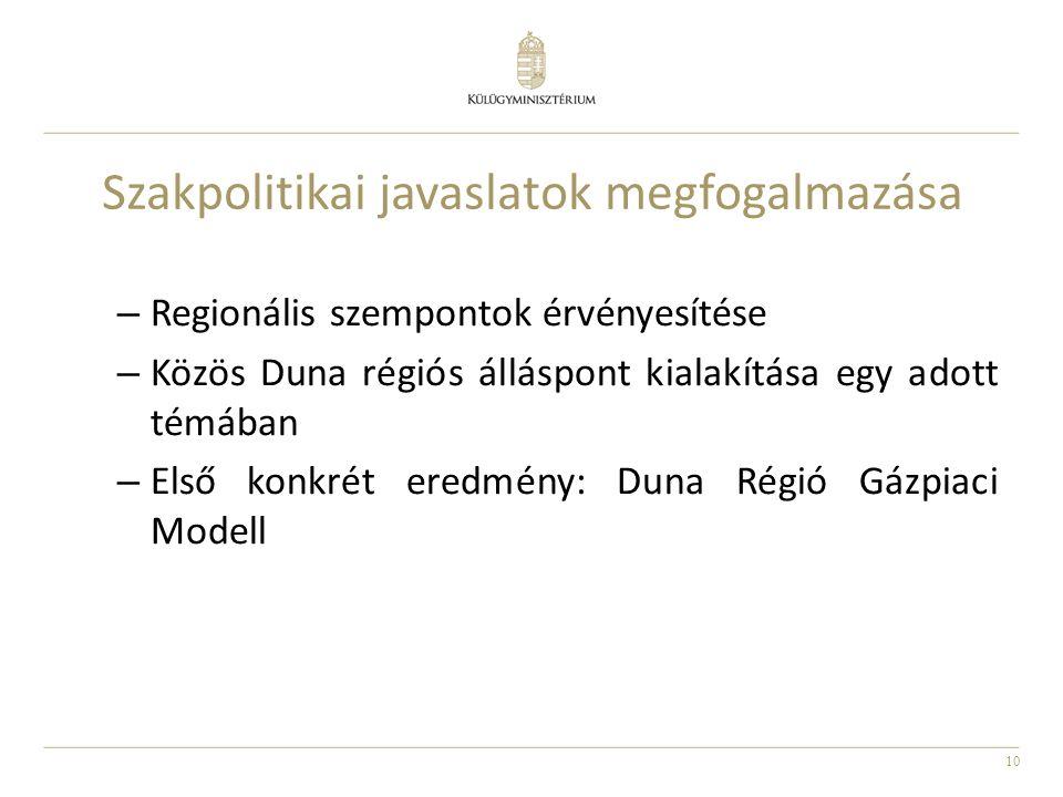 10 Szakpolitikai javaslatok megfogalmazása – Regionális szempontok érvényesítése – Közös Duna régiós álláspont kialakítása egy adott témában – Első ko