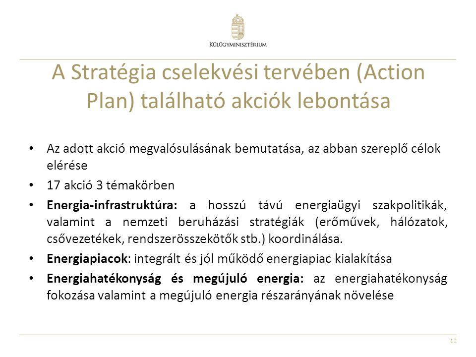 12 A Stratégia cselekvési tervében (Action Plan) található akciók lebontása Az adott akció megvalósulásának bemutatása, az abban szereplő célok elérés