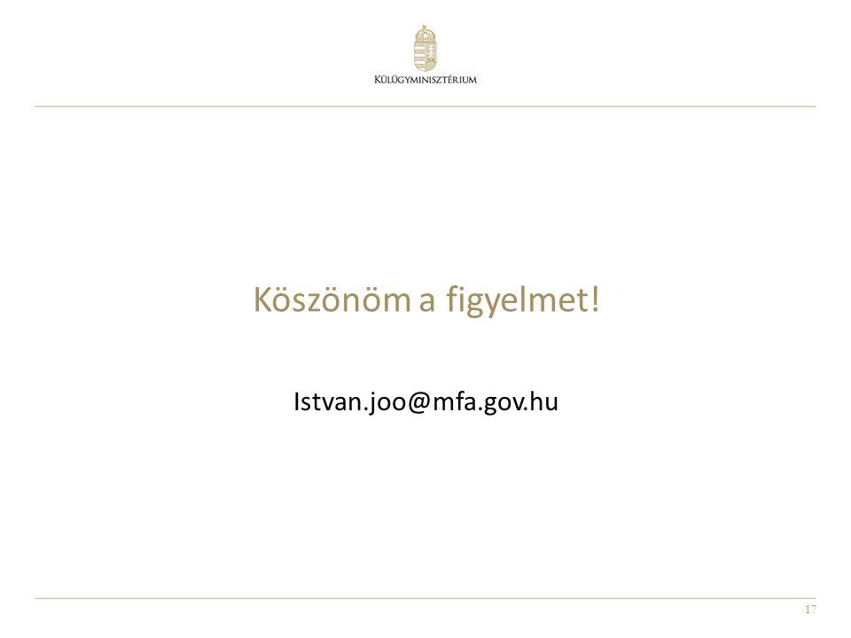 17 Köszönöm a figyelmet! Istvan.joo@mfa.gov.hu