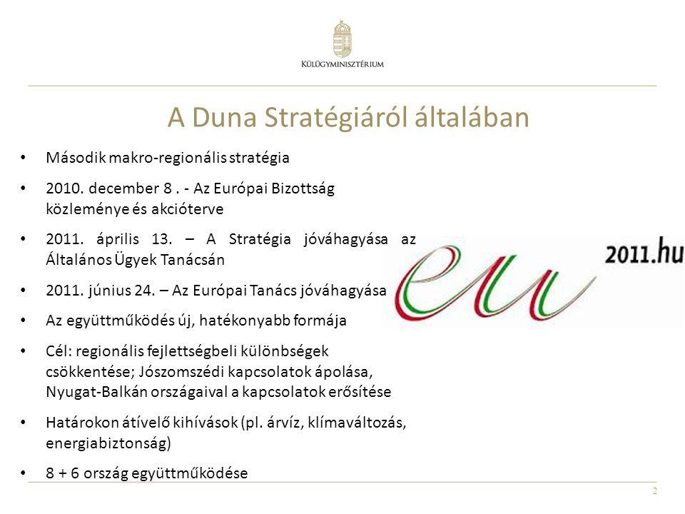 2 A Duna Stratégiáról általában Második makro-regionális stratégia 2010. december 8. - Az Európai Bizottság közleménye és akcióterve 2011. április 13.
