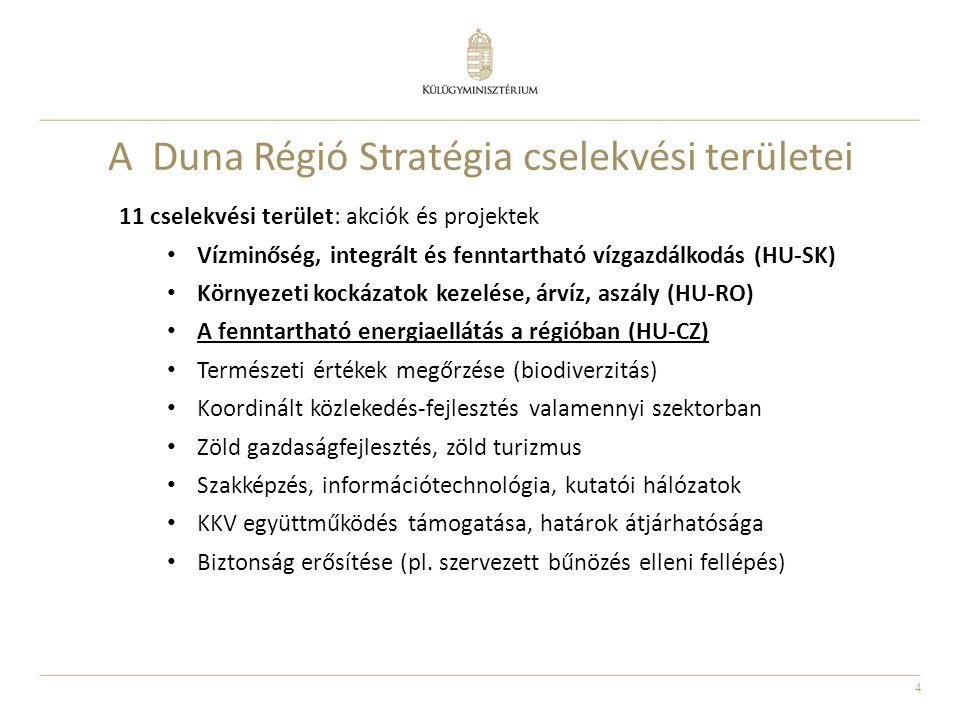 4 A Duna Régió Stratégia cselekvési területei 11 cselekvési terület: akciók és projektek Vízminőség, integrált és fenntartható vízgazdálkodás (HU-SK)
