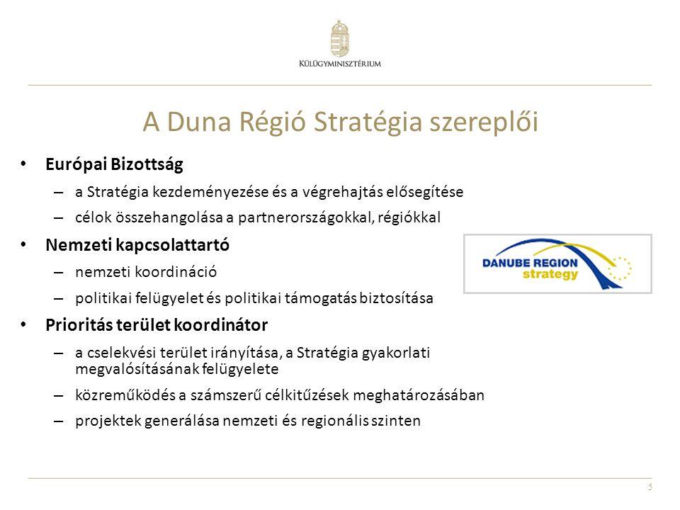 5 A Duna Régió Stratégia szereplői Európai Bizottság – a Stratégia kezdeményezése és a végrehajtás elősegítése – célok összehangolása a partnerországo
