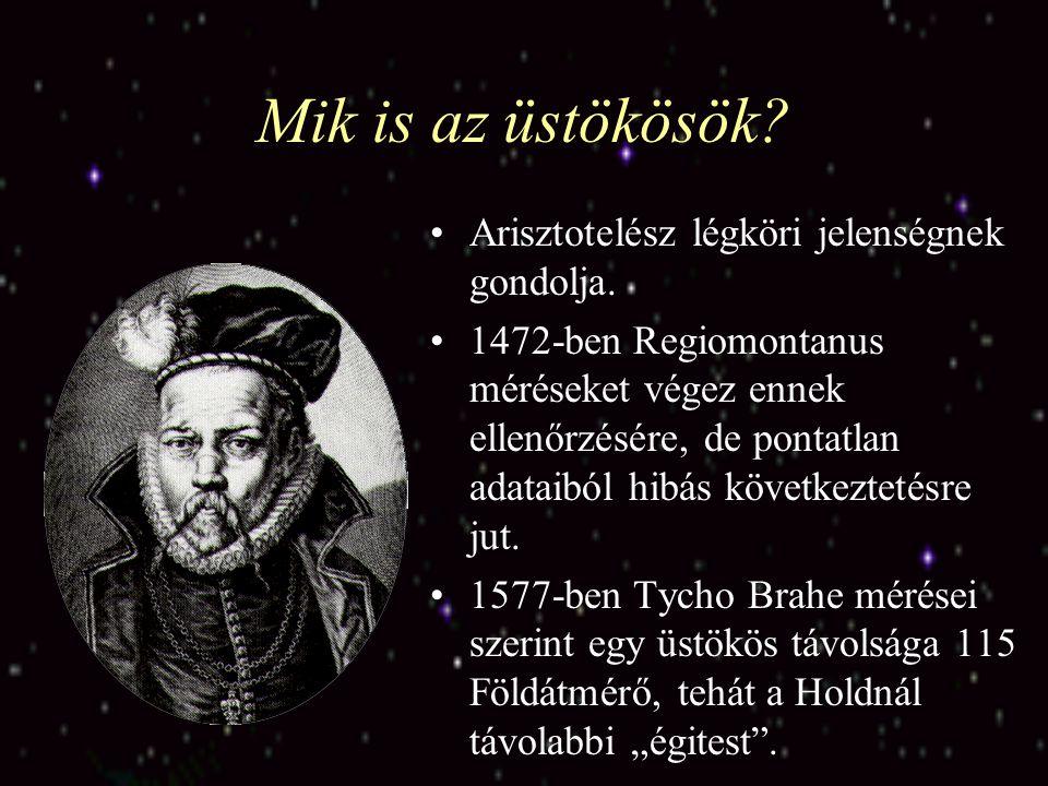 Mik is az üstökösök? Arisztotelész légköri jelenségnek gondolja. 1472-ben Regiomontanus méréseket végez ennek ellenőrzésére, de pontatlan adataiból hi