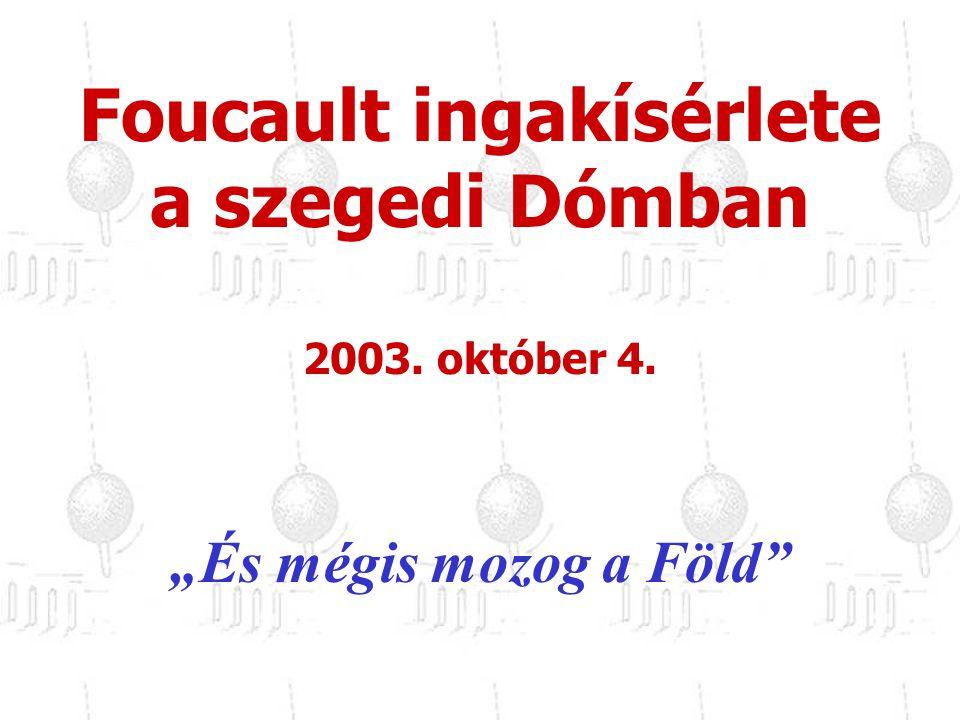 """""""És mégis mozog a Föld"""" Foucault ingakísérlete a szegedi Dómban 2003. október 4."""
