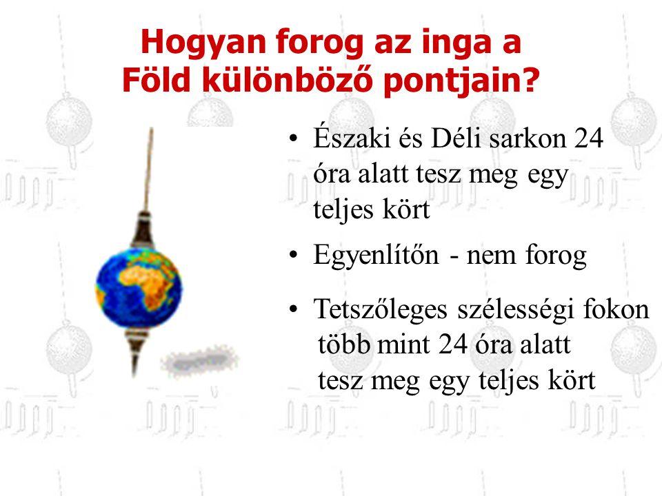 Északi és Déli sarkon 24 óra alatt tesz meg egy teljes kört Egyenlítőn - nem forog Hogyan forog az inga a Föld különböző pontjain? Tetszőleges széless