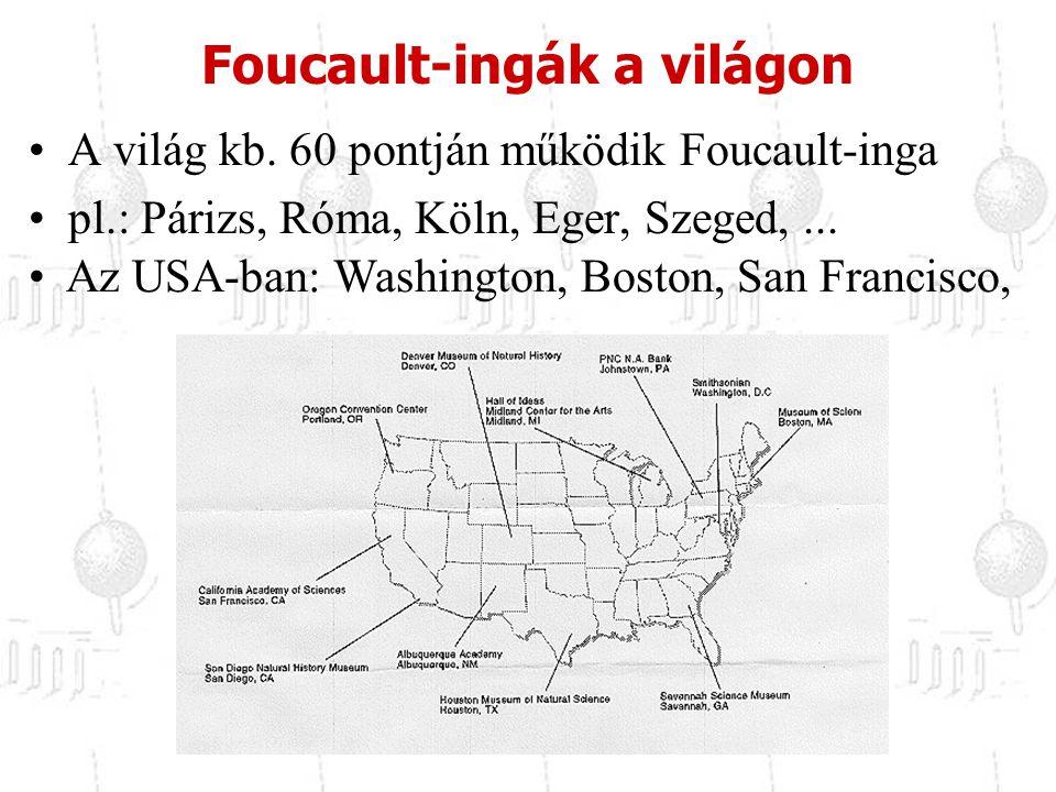 A világ kb. 60 pontján működik Foucault-inga pl.: Párizs, Róma, Köln, Eger, Szeged,... Foucault-ingák a világon Az USA-ban: Washington, Boston, San Fr