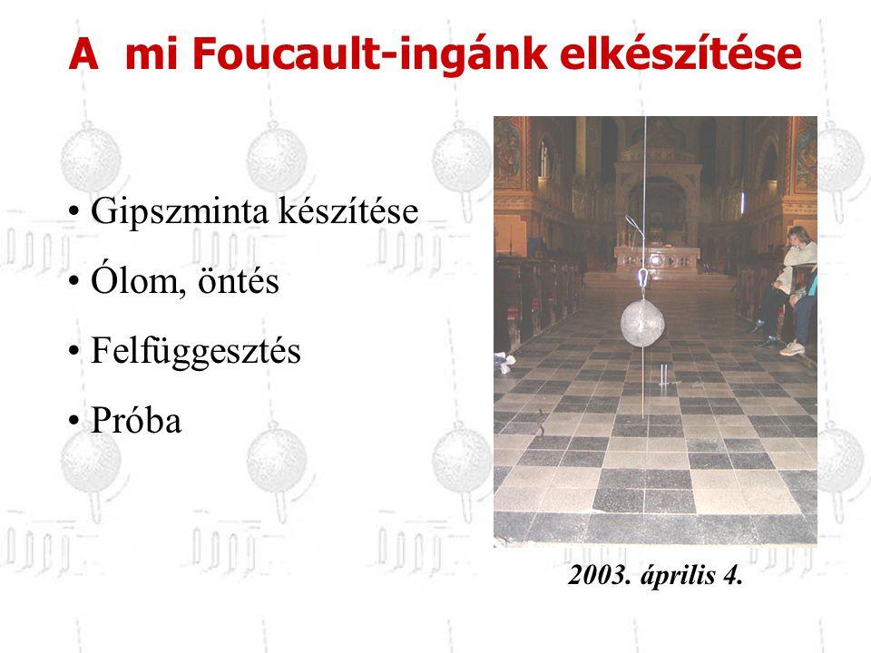 A mi Foucault-ingánk elkészítése Gipszminta készítése Ólom, öntés Felfüggesztés Próba 2003. április 4.