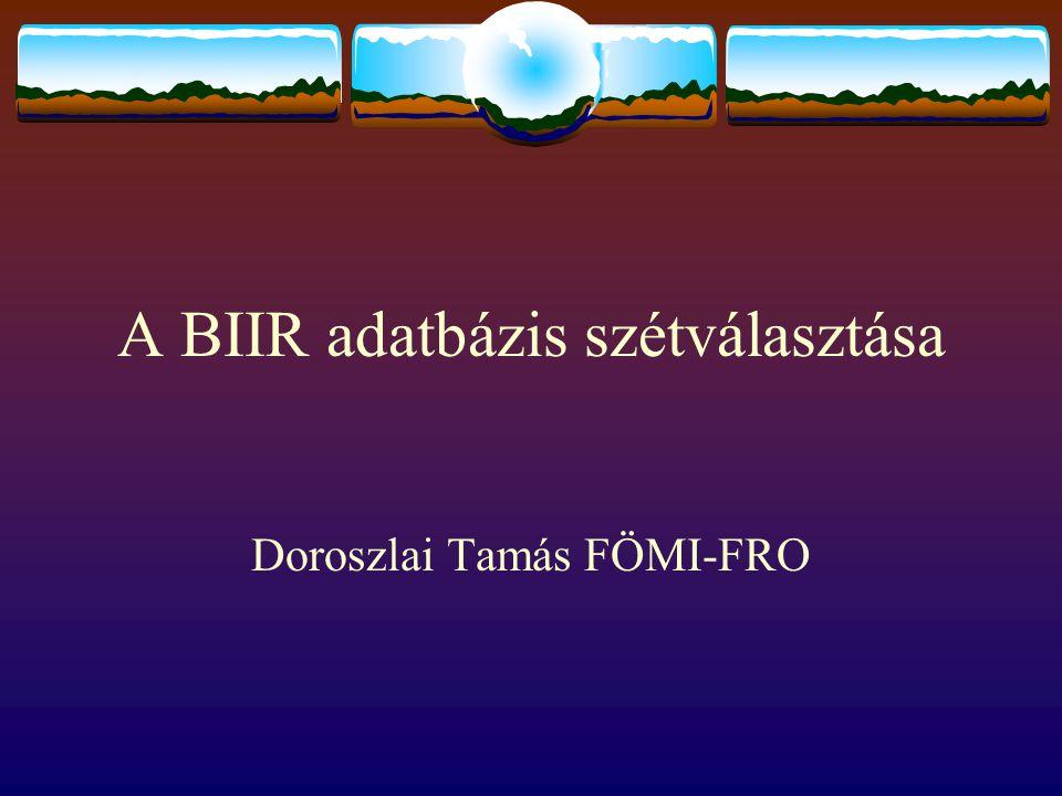 A BIIR adatbázis szétválasztása Doroszlai Tamás FÖMI-FRO