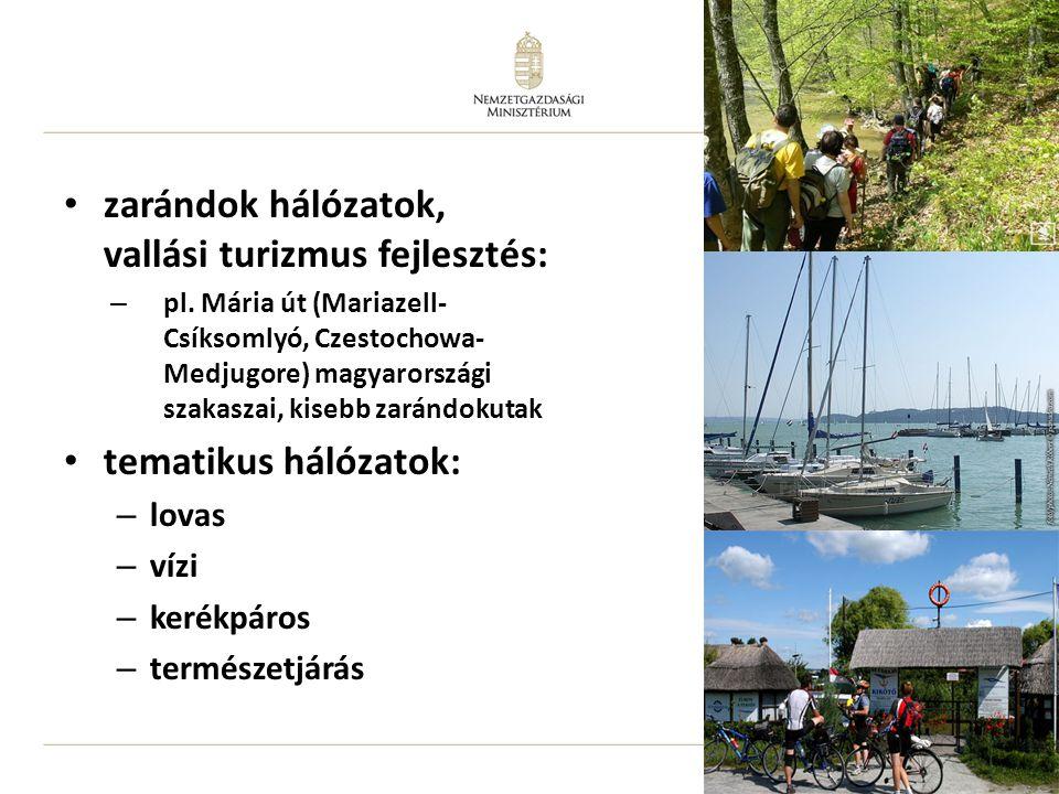 16 zarándok hálózatok, vallási turizmus fejlesztés: – pl. Mária út (Mariazell- Csíksomlyó, Czestochowa- Medjugore) magyarországi szakaszai, kisebb zar