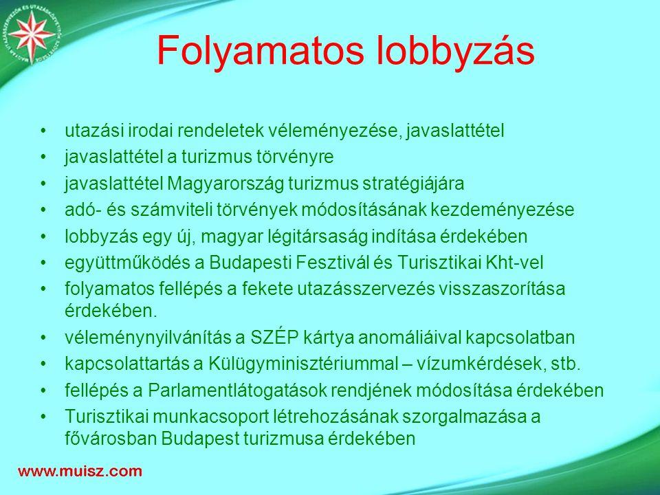 Folyamatos lobbyzás utazási irodai rendeletek véleményezése, javaslattétel javaslattétel a turizmus törvényre javaslattétel Magyarország turizmus stratégiájára adó- és számviteli törvények módosításának kezdeményezése lobbyzás egy új, magyar légitársaság indítása érdekében együttműködés a Budapesti Fesztivál és Turisztikai Kht-vel folyamatos fellépés a fekete utazásszervezés visszaszorítása érdekében.