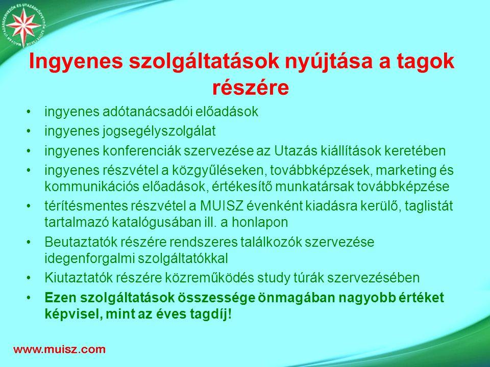 Együttműködések Az együttműködési megállapodások célja a tagok részére kedvező feltételrendszerek, kedvezmények elérése társszervezeteknél, szolgáltatóknál, hatóságoknál Magyar Turizmus Zrt.