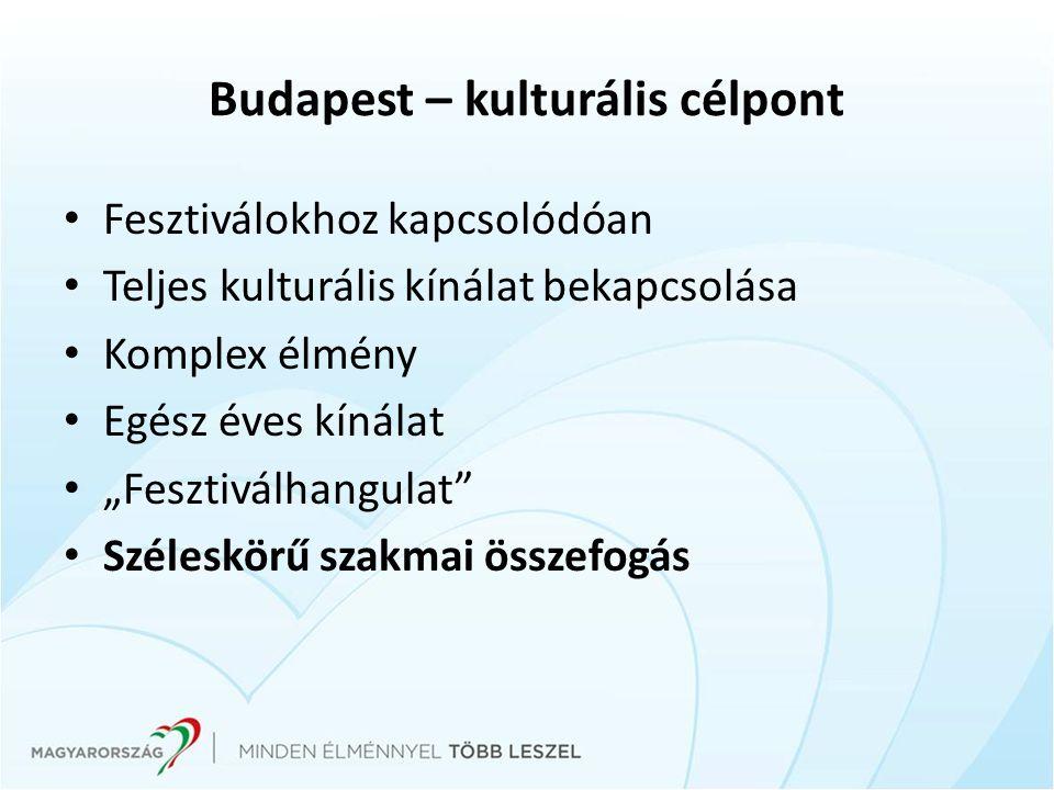 """Budapest – kulturális célpont Fesztiválokhoz kapcsolódóan Teljes kulturális kínálat bekapcsolása Komplex élmény Egész éves kínálat """"Fesztiválhangulat"""""""
