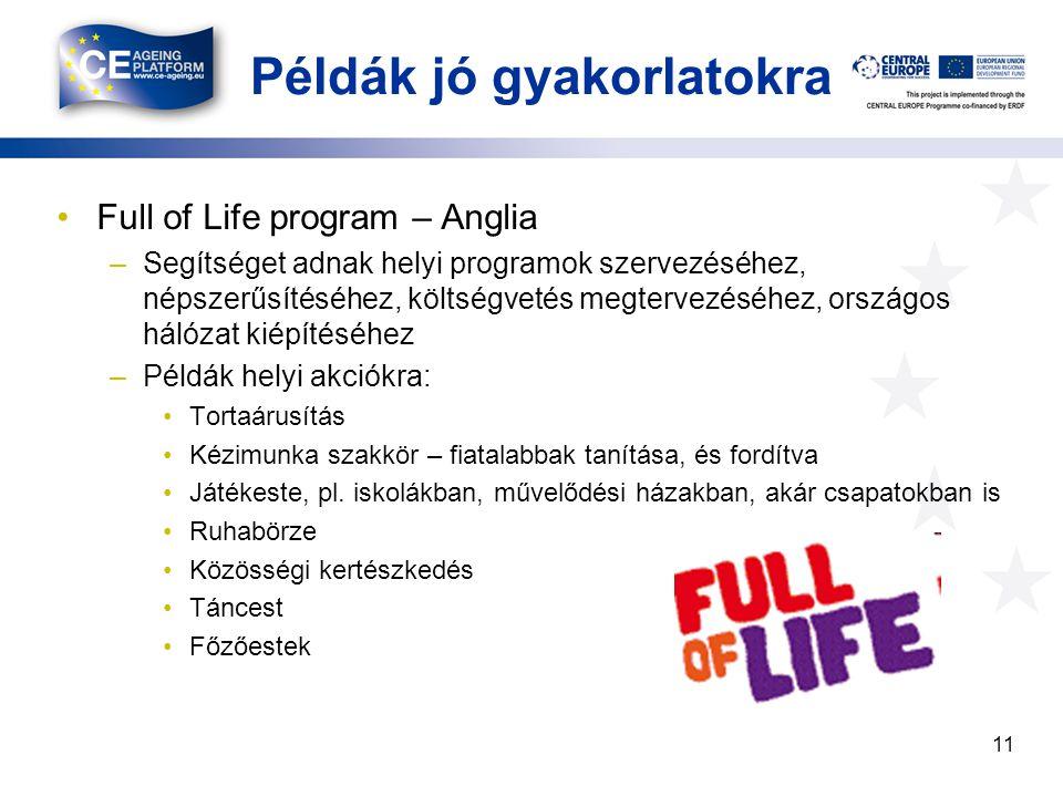 Példák jó gyakorlatokra Full of Life program – Anglia –Segítséget adnak helyi programok szervezéséhez, népszerűsítéséhez, költségvetés megtervezéséhez, országos hálózat kiépítéséhez –Példák helyi akciókra: Tortaárusítás Kézimunka szakkör – fiatalabbak tanítása, és fordítva Játékeste, pl.