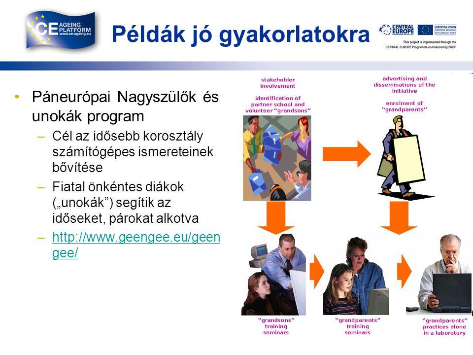 """Példák jó gyakorlatokra Páneurópai Nagyszülők és unokák program –Cél az idősebb korosztály számítógépes ismereteinek bővítése –Fiatal önkéntes diákok (""""unokák ) segítik az időseket, párokat alkotva –http://www.geengee.eu/geen gee/http://www.geengee.eu/geen gee/ 12"""