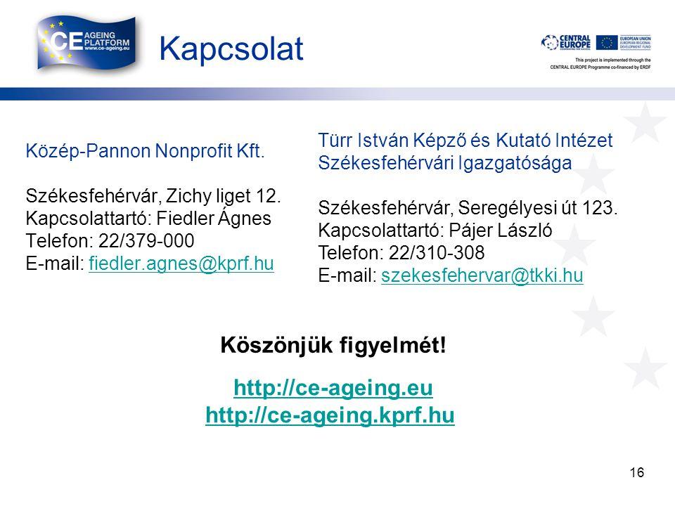 Kapcsolat 16 Közép-Pannon Nonprofit Kft. Székesfehérvár, Zichy liget 12.