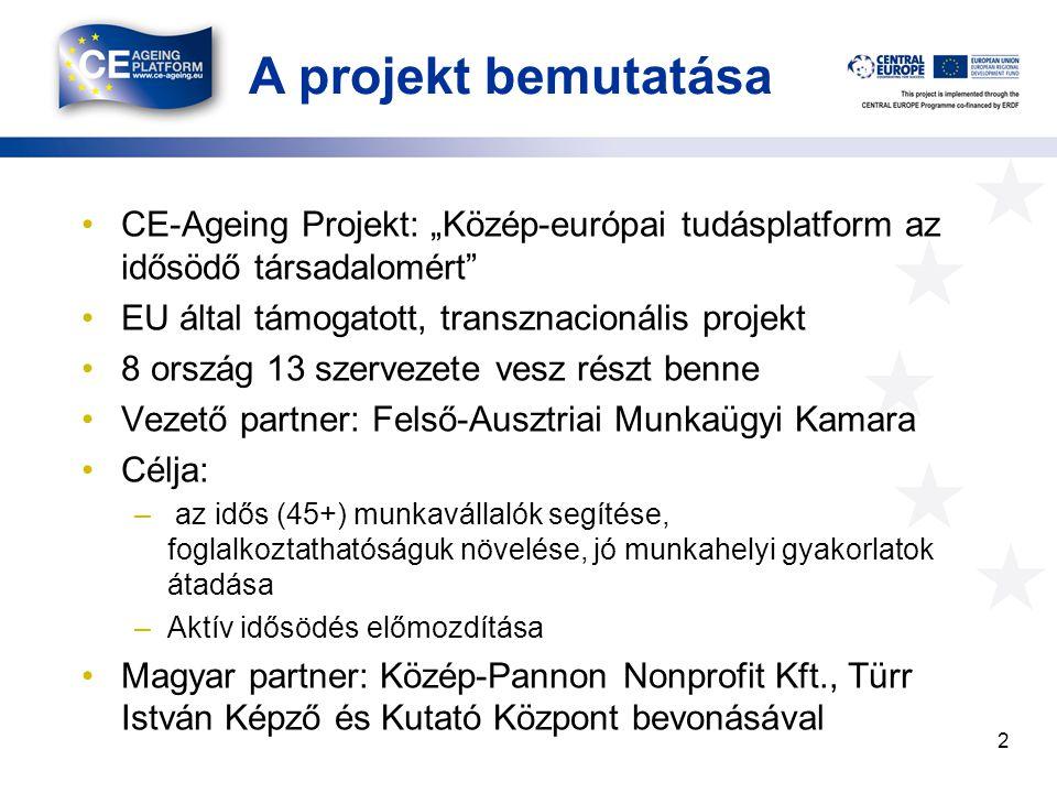 """A projekt bemutatása CE-Ageing Projekt: """"Közép-európai tudásplatform az idősödő társadalomért EU által támogatott, transznacionális projekt 8 ország 13 szervezete vesz részt benne Vezető partner: Felső-Ausztriai Munkaügyi Kamara Célja: – az idős (45+) munkavállalók segítése, foglalkoztathatóságuk növelése, jó munkahelyi gyakorlatok átadása –Aktív idősödés előmozdítása Magyar partner: Közép-Pannon Nonprofit Kft., Türr István Képző és Kutató Központ bevonásával 2"""