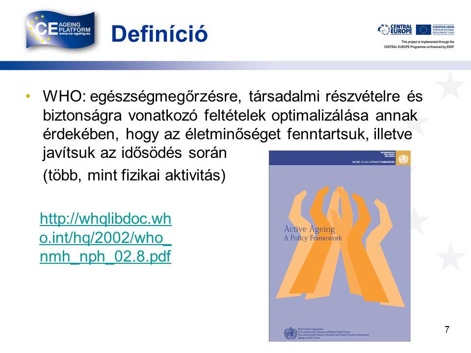 Definíció WHO: egészségmegőrzésre, társadalmi részvételre és biztonságra vonatkozó feltételek optimalizálása annak érdekében, hogy az életminőséget fenntartsuk, illetve javítsuk az idősödés során (több, mint fizikai aktivitás) 7 http://whqlibdoc.wh o.int/hq/2002/who_ nmh_nph_02.8.pdf