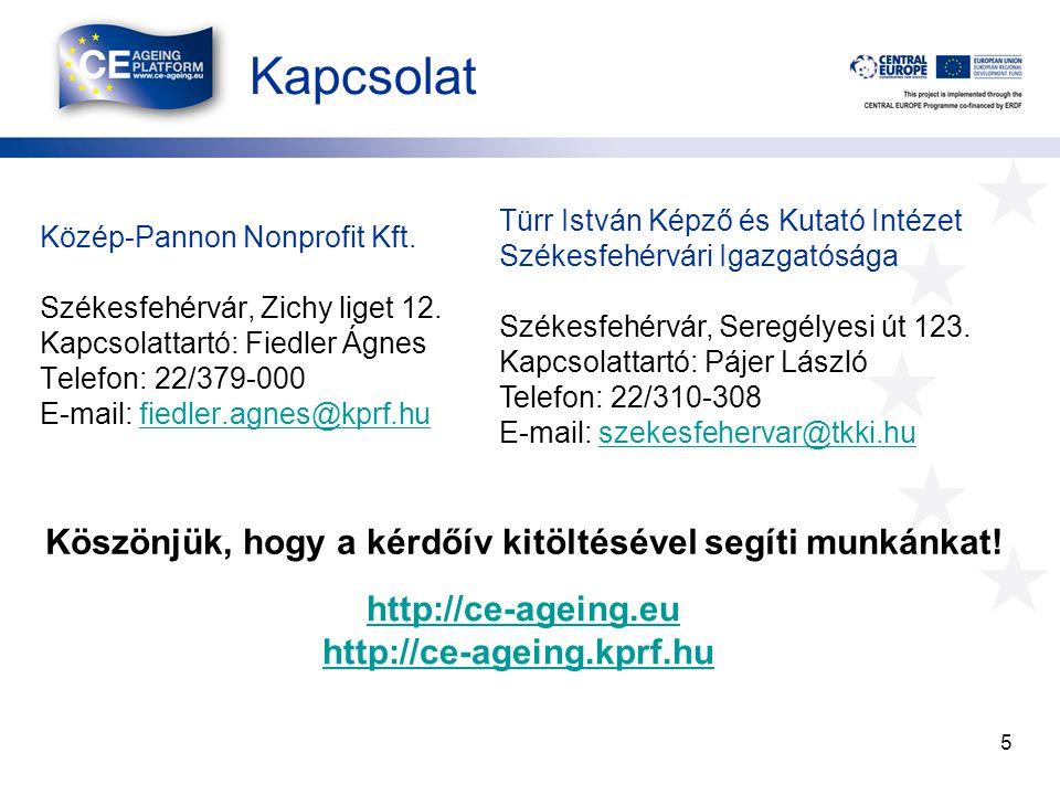 Kapcsolat 5 Közép-Pannon Nonprofit Kft. Székesfehérvár, Zichy liget 12. Kapcsolattartó: Fiedler Ágnes Telefon: 22/379-000 E-mail: fiedler.agnes@kprf.h