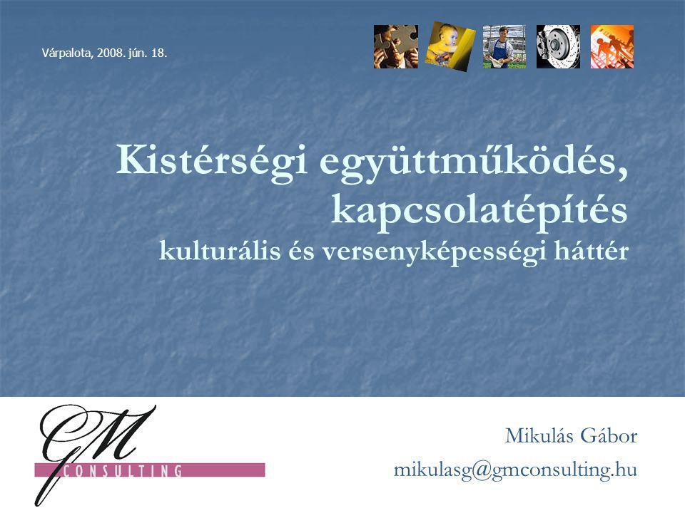 Kistérségi együttműködés, kapcsolatépítés kulturális és versenyképességi háttér 2007.