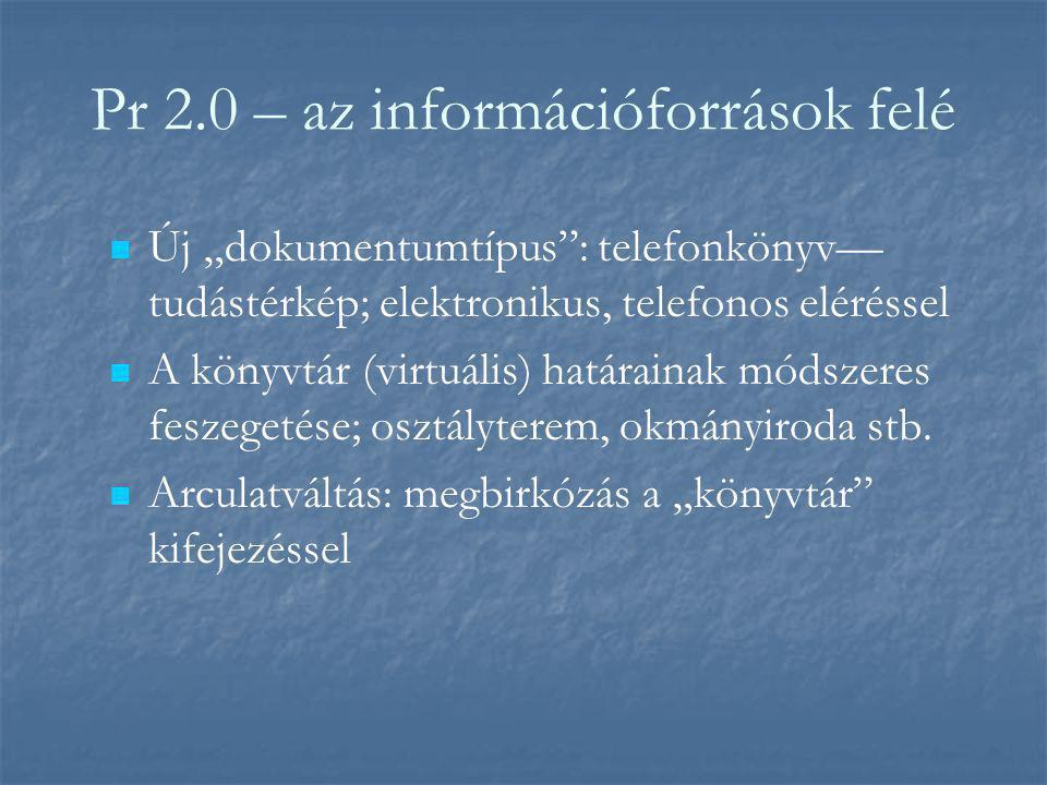 """Pr 2.0 – az információforrások felé Új """"dokumentumtípus : telefonkönyv— tudástérkép; elektronikus, telefonos eléréssel A könyvtár (virtuális) határainak módszeres feszegetése; osztályterem, okmányiroda stb."""