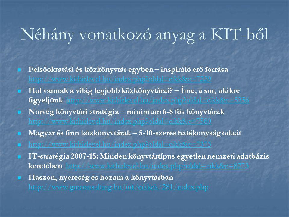 Néhány vonatkozó anyag a KIT-ből Felsőoktatási és közkönyvtár egyben – inspiráló erő forrása http://www.kithirlevel.hu/index.php oldal=cikk&c=7229 http://www.kithirlevel.hu/index.php oldal=cikk&c=7229 Hol vannak a világ legjobb közkönyvtárai.