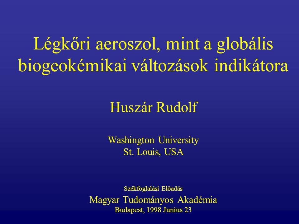 Légkőri aeroszol, mint a globális biogeokémikai változások indikátora Huszár Rudolf Washington University St. Louis, USA Székfoglalási Előadás Magyar