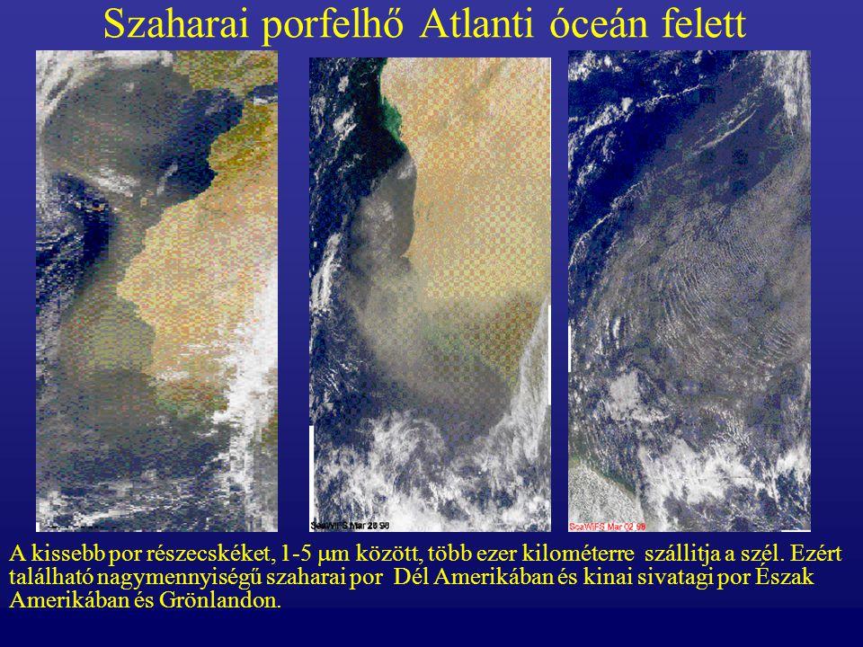 Szaharai porfelhő Atlanti óceán felett A kissebb por részecskéket, 1-5  m között, több ezer kilométerre szállitja a szél. Ezért található nagymennyis