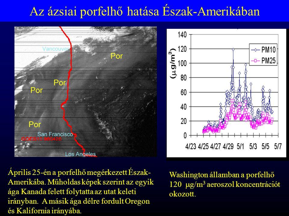 Az ázsiai porfelhő hatása Észak-Amerikában Washington államban a porfelhő 120  g/m 3 aeroszol koncentrációt okozott.