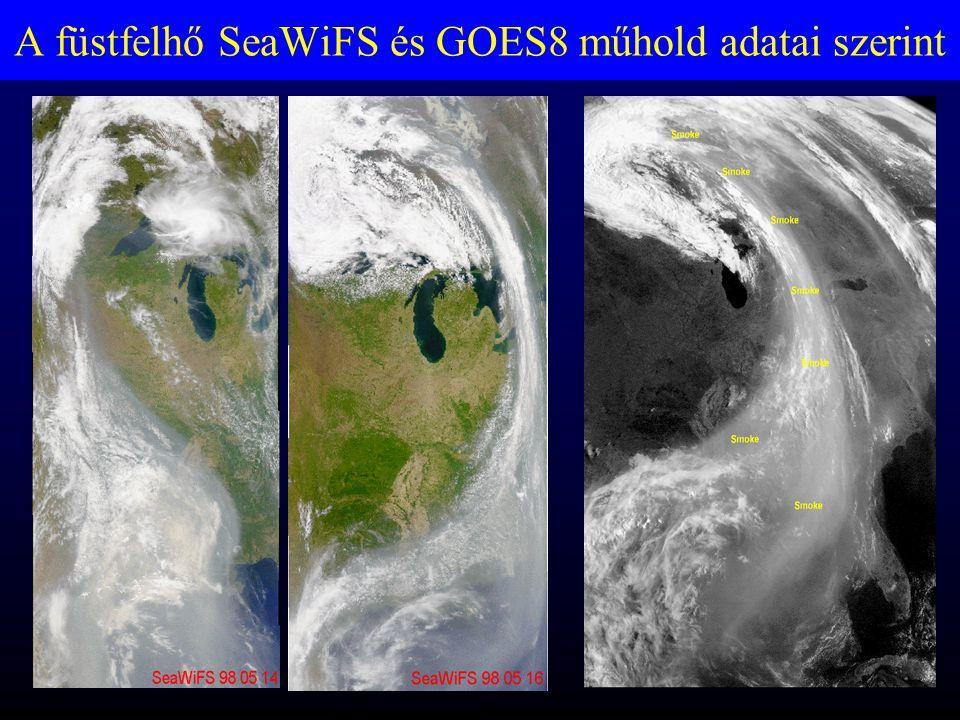 A füstfelhő SeaWiFS és GOES8 műhold adatai szerint