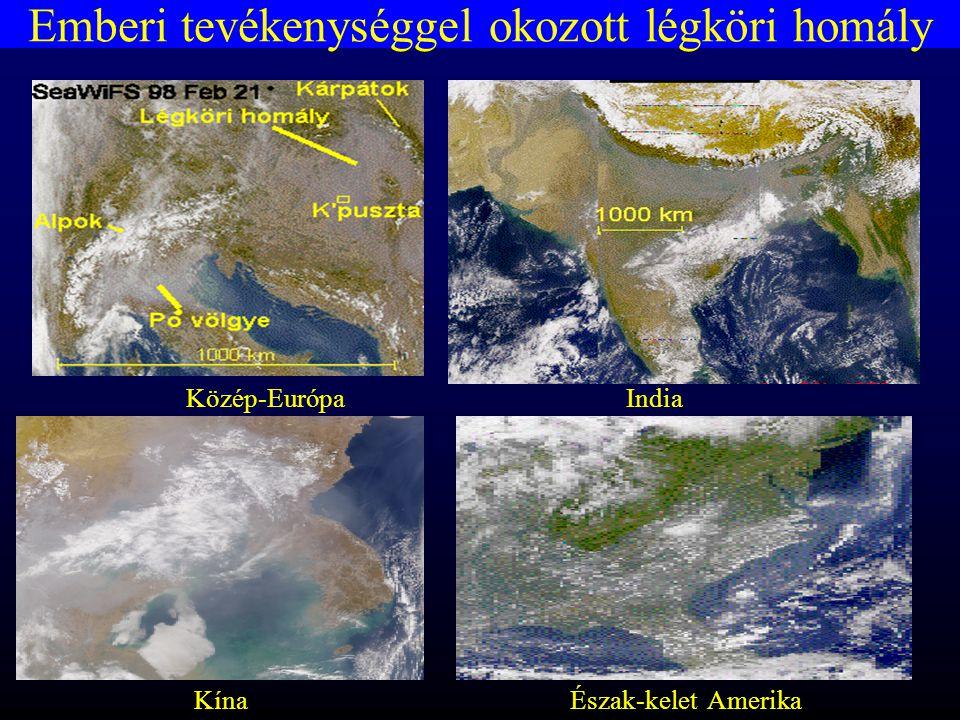 Emberi tevékenységgel okozott légköri homály Közép-EurópaIndia KínaÉszak-kelet Amerika