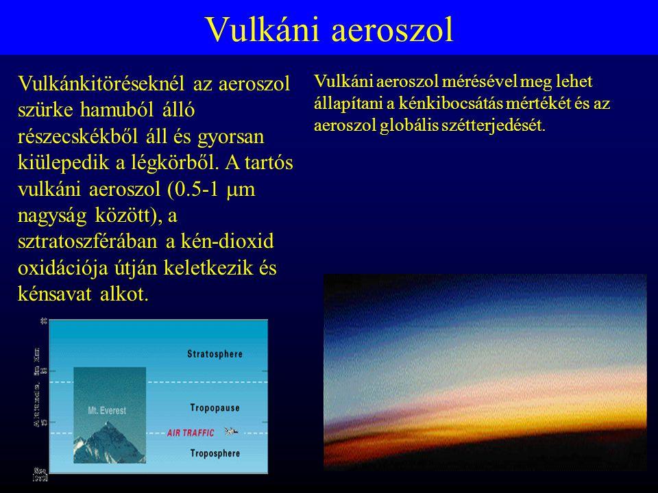 Vulkáni aeroszol Vulkánkitöréseknél az aeroszol szürke hamuból álló részecskékből áll és gyorsan kiülepedik a légkörből.