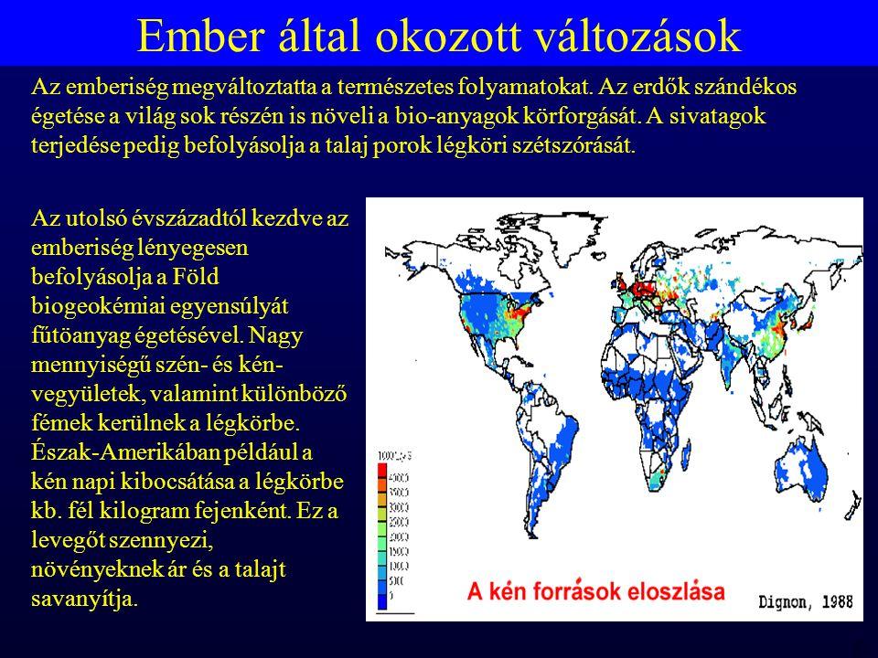 MTA 98 06 23 RBH Ember által okozott változások Az utolsó évszázadtól kezdve az emberiség lényegesen befolyásolja a Föld biogeokémiai egyensúlyát fűtöanyag égetésével.
