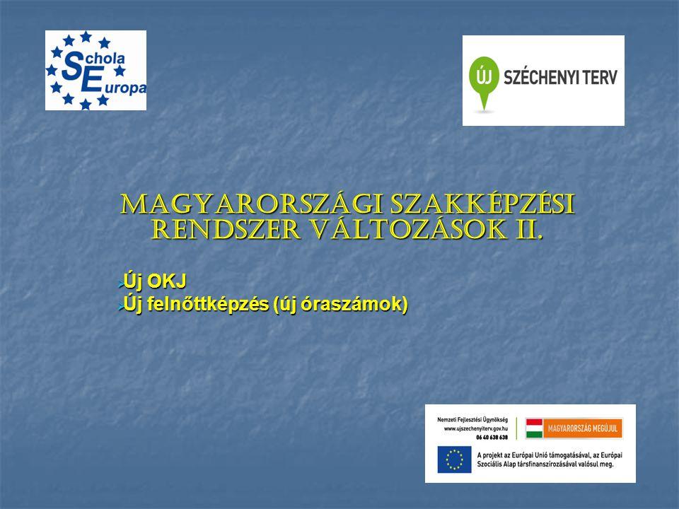 Magyarországi szakképzési rendszer változások II.  Új OKJ  Új felnőttképzés (új óraszámok)