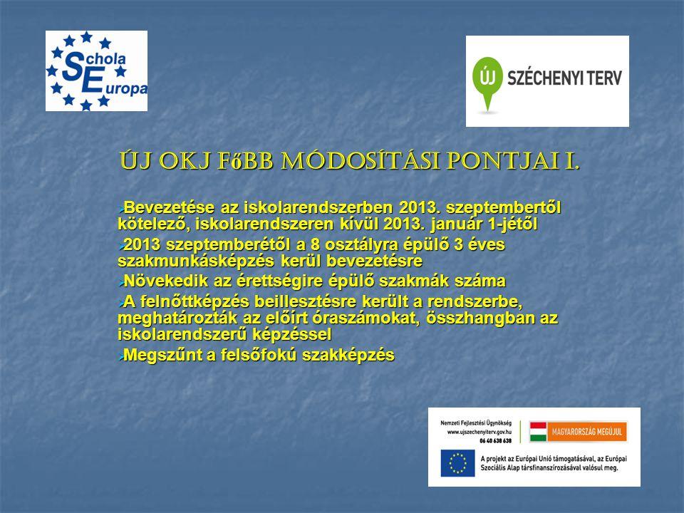 Új OKJ f ő bb módosítási pontjai I.  Bevezetése az iskolarendszerben 2013. szeptembertől kötelező, iskolarendszeren kívül 2013. január 1-jétől  2013