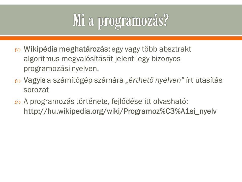 """ Wikipédia meghatározás: egy vagy több absztrakt algoritmus megvalósítását jelenti egy bizonyos programozási nyelven.  Vagyis a számítógép számára """""""
